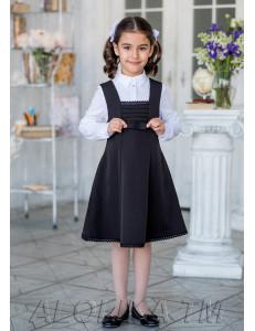 """Сарафан для девочек черного цвета с завышенной талией """"Сударушка"""""""