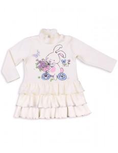 """Платье для малышек молочного цвета """"зайка на велосипеде"""""""