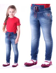 Джинсы для девочек с красным поясом-резинкой ligas