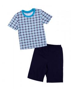 Пижама летняя для мальчиков в черно-бирюзовую клетку