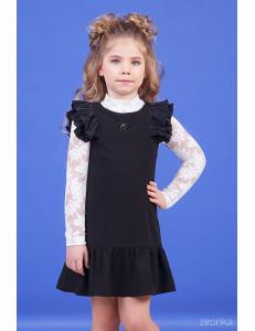 """Сарафан черного цвета с плиссированными рукавами """"Элис"""""""
